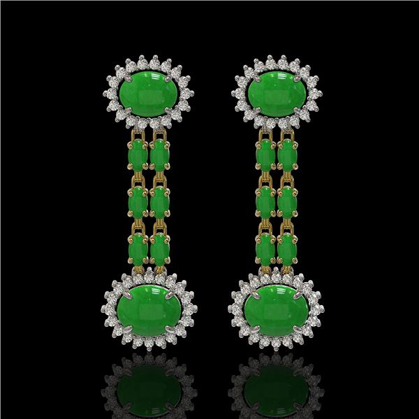 8.07 ctw Jade & Diamond Earrings 14K Yellow Gold - REF-144A8N
