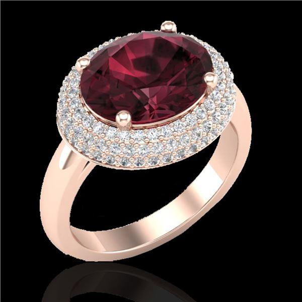 4.50 ctw Garnet & Micro Pave VS/SI Diamond Ring 14k Rose Gold - REF-89G6W