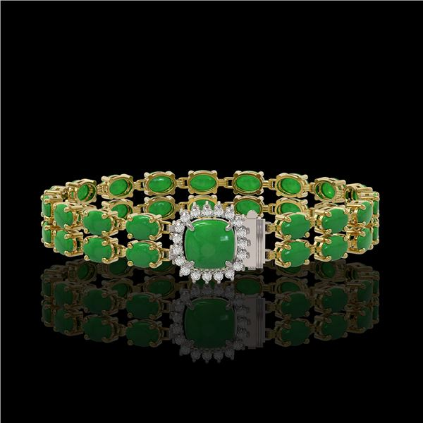 12.93 ctw Jade & Diamond Bracelet 14K Yellow Gold - REF-245H5R