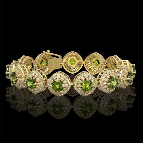 33.05 ctw Tourmaline & Diamond Victorian Bracelet 14K Yellow Gold - REF-982H8R