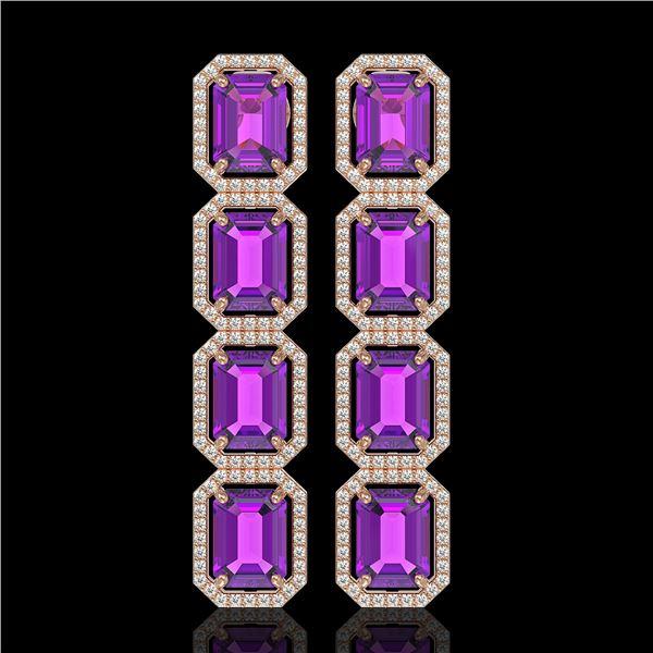 18.59 ctw Amethyst & Diamond Micro Pave Halo Earrings 10k Rose Gold - REF-209G3W