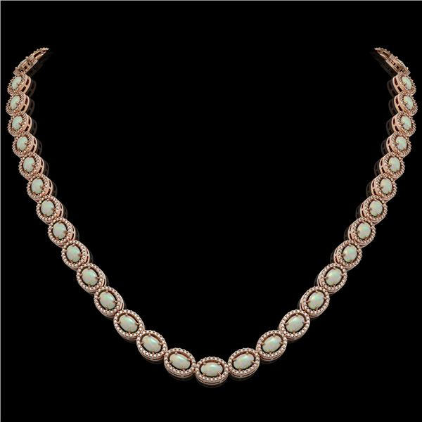 21.21 ctw Opal & Diamond Micro Pave Halo Necklace 10k Rose Gold - REF-581Y8X