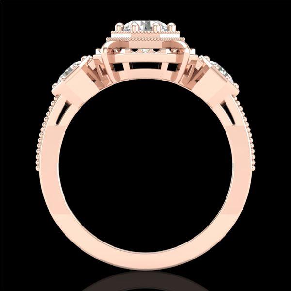 1.01 ctw VS/SI Diamond Solitaire Art Deco 3 Stone Ring 18k Rose Gold - REF-170W9H