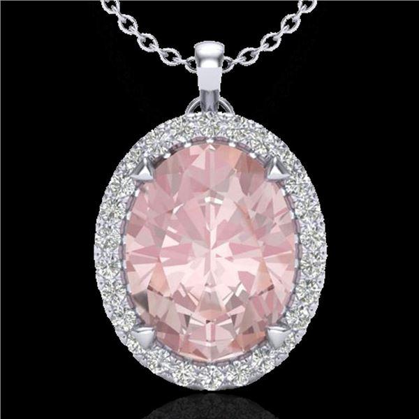 2.75 ctw Morganite & Micro VS/SI Diamond Halo Necklace 18k White Gold - REF-82H8R