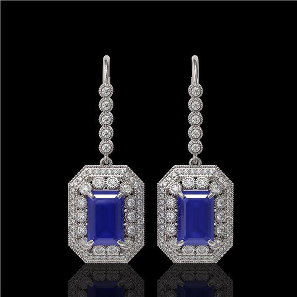 14.16 ctw Sapphire & Diamond Victorian Earrings 14K White Gold - REF-318N2F