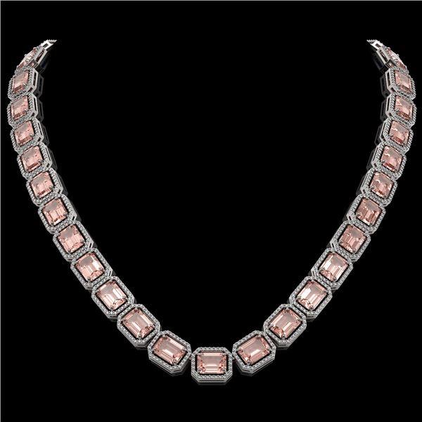 81.64 ctw Morganite & Diamond Micro Pave Halo Necklace 10k White Gold - REF-1728R2K
