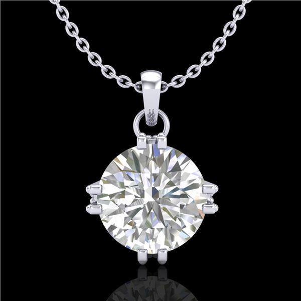 1 ctw VS/SI Diamond Solitaire Art Deco Stud Necklace 18k White Gold - REF-294A2N