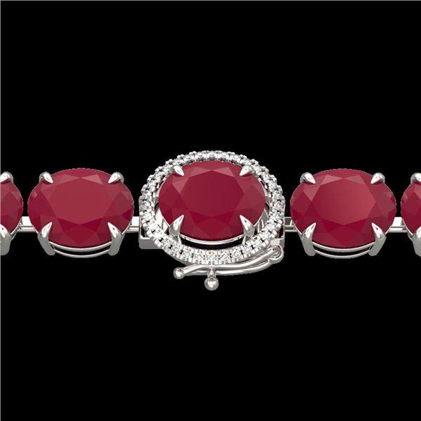 75 ctw Ruby & Micro Pave VS/SI Diamond Bracelet 14k White Gold - REF-636G4W