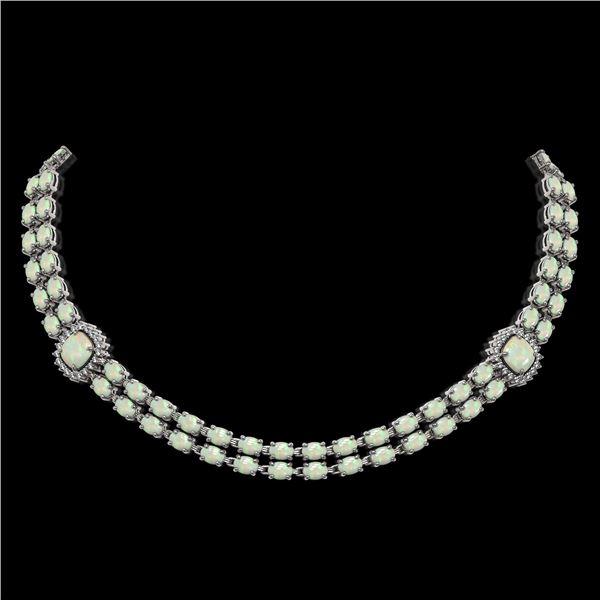 32.21 ctw Opal & Diamond Necklace 14K White Gold - REF-527G3W