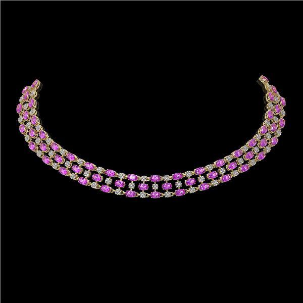 30.83 ctw Amethyst & Diamond Necklace 10K Yellow Gold - REF-427Y3X