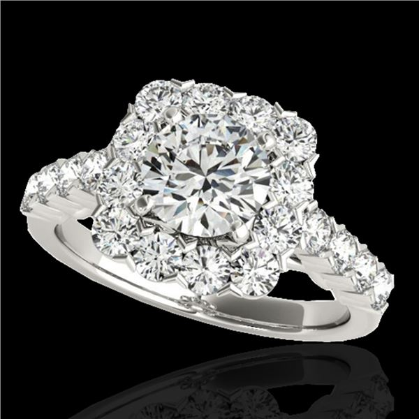 2.5 ctw Certified Diamond Solitaire Halo Ring 10k White Gold - REF-231M8G