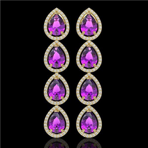 10.85 ctw Amethyst & Diamond Micro Pave Halo Earrings 10k Yellow Gold - REF-172Y8X
