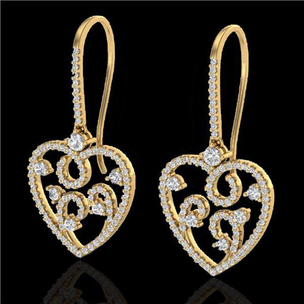 2.50 ctw VS/SI Diamond Micro Pave Designer Earrings 14k Yellow Gold - REF-227G3W