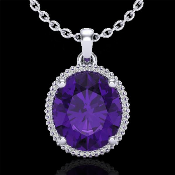 10 ctw Amethyst & Micro Pave VS/SI Diamond Necklace 18k White Gold - REF-78H2R