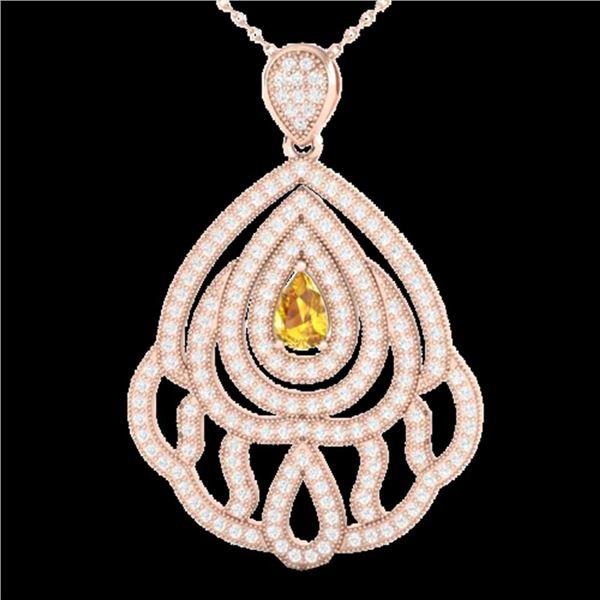 2 ctw Yellow Sapphire & Micro VS/SI Diamond Necklace 14k Rose Gold - REF-180H2R