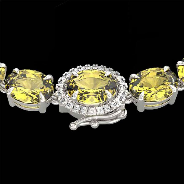 45.25 ctw Citrine & VS/SI Diamond Micro Pave Necklace 14k White Gold - REF-263M6G