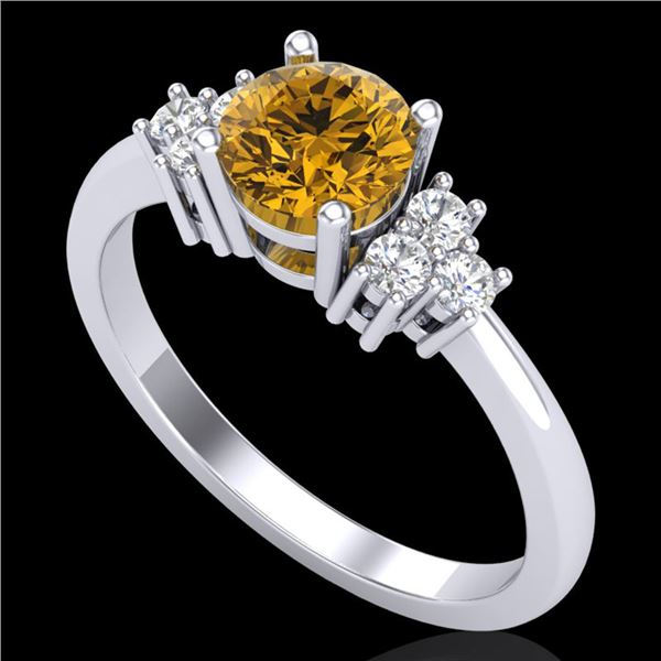 1 ctw Intense Yellow Diamond Engagment Ring 18k White Gold - REF-200M2G