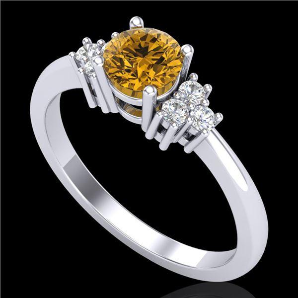 0.75 ctw Intense Fancy Yellow Diamond Engagment Ring 18k White Gold - REF-107X3A