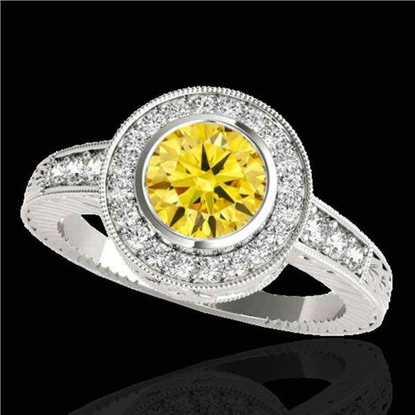 2 ctw Certified SI/I Fancy Intense Yellow Diamond Halo Ring 10k White Gold - REF-313W6H