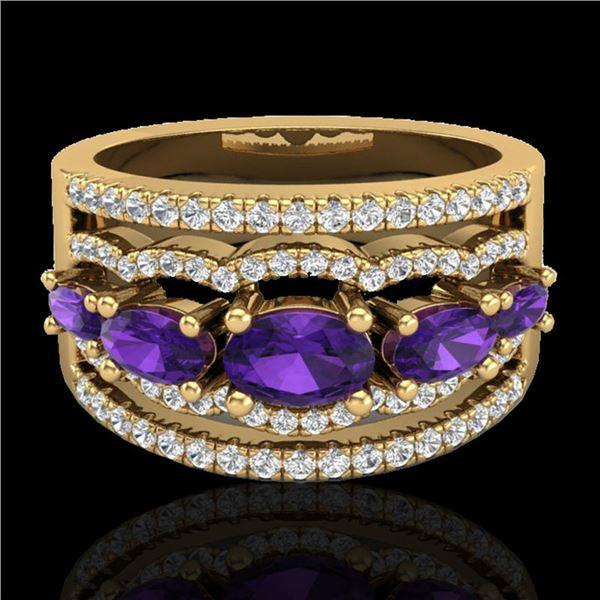 2.25 ctw Amethyst & Micro Pave VS/SI Diamond Designer Ring 10k Yellow Gold - REF-81A8N