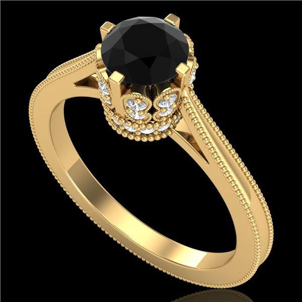 1.14 ctw Fancy Black Diamond Engagment Art Deco Ring 18k Yellow Gold - REF-94K5Y
