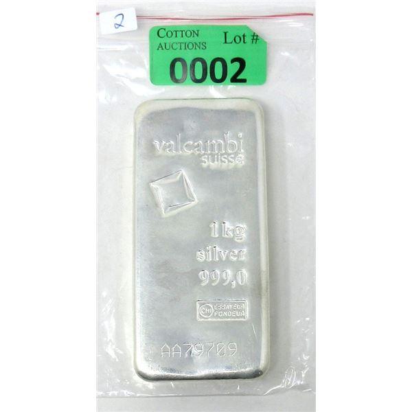 1 Kilo .999 Fine Silver Valcambi Suisse Bar