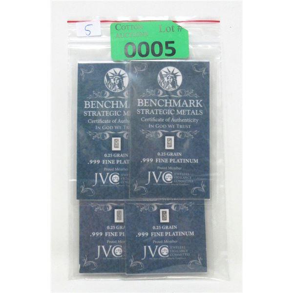 Four 1/4 Grain .999 Fine Platinum Bars