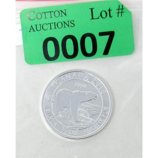 1/2 Oz. Canada .9999 Silver 2018 Polar Bear Coin