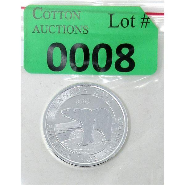 1/2 Oz. Canada .9999 Silver 2020 Polar Bear Coin