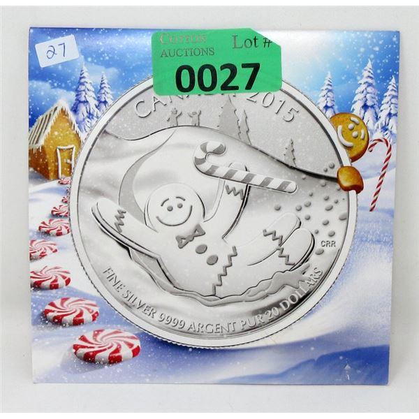 "1/4 Oz Fine Silver 2015 ""Gingerbread Man"" Coin"