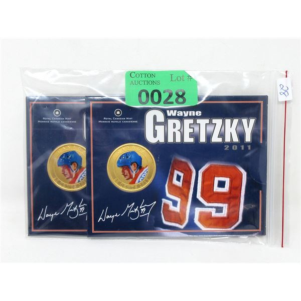 Two 2011 Wayne Gretzky Oversized Coins
