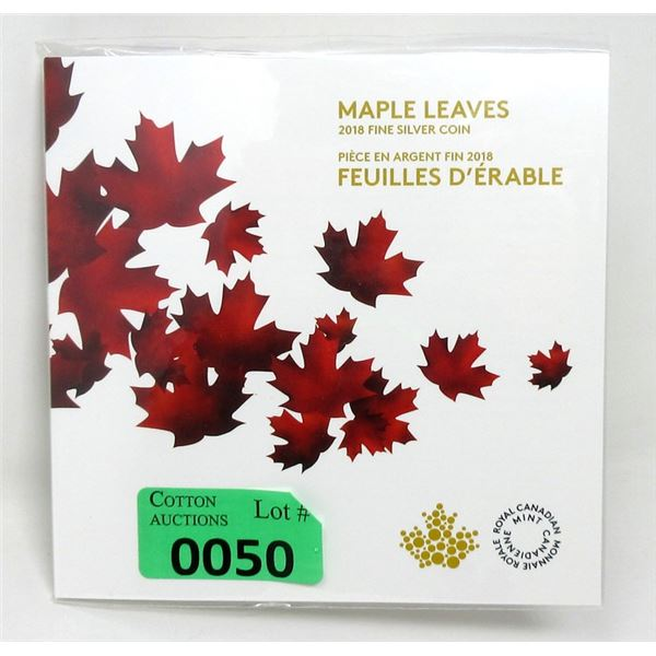 """2018 Canada .9999 Silver """"Maple Leaves"""" Coin"""