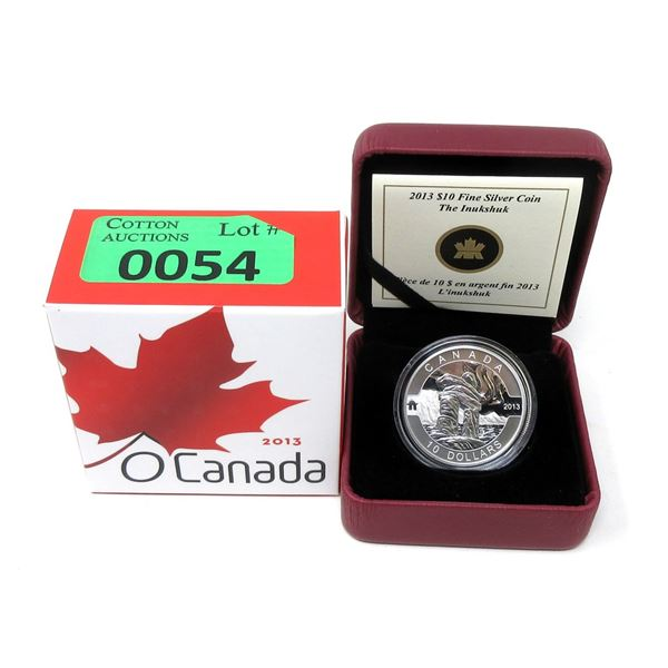 """2013 Canada .9999 Silver""""The Inukshuk""""$10 Coin"""