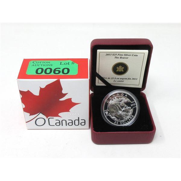 """2013 $25Canada .9999 Silver """"The Beaver""""Coin"""
