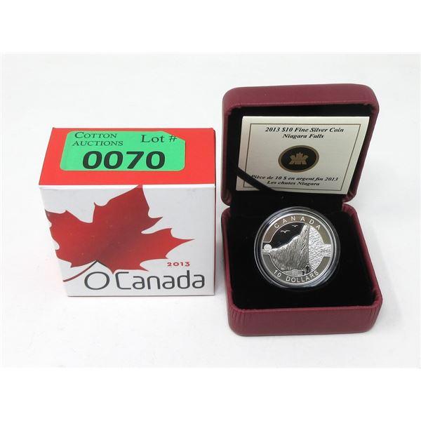 """2013 Canada .9999 Silver""""Niagara Falls""""$10Coin"""