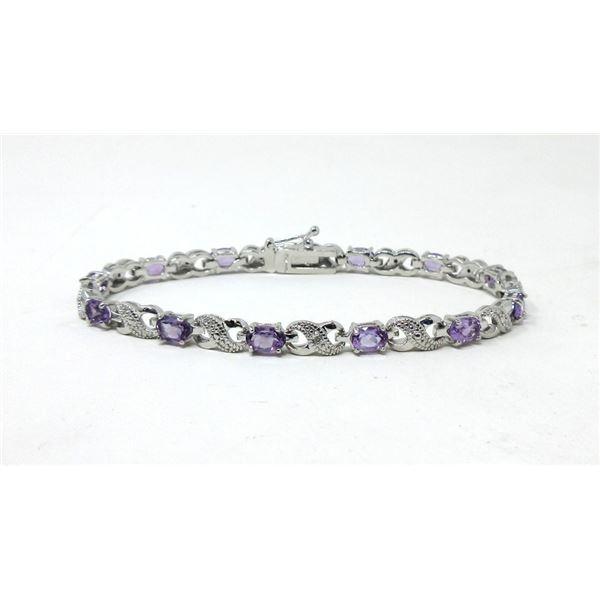 6.02 CT Amethyst & Diamond Tennis Bracelet