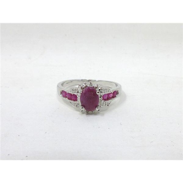 Sterling Silver Multi Ruby & Diamond Ring