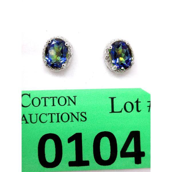 Sterling Silver Mystic Topaz & Diamond Earrings
