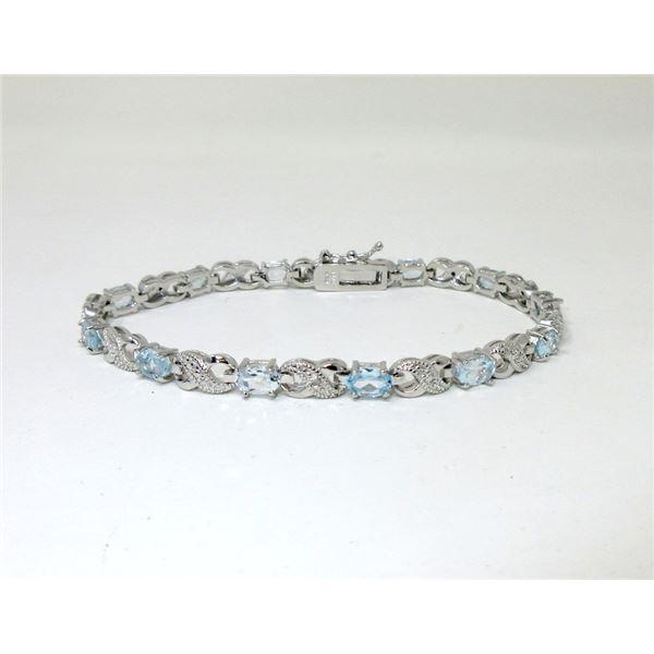 7.15 CTW Blue Topaz & Diamond Tennis Bracelet