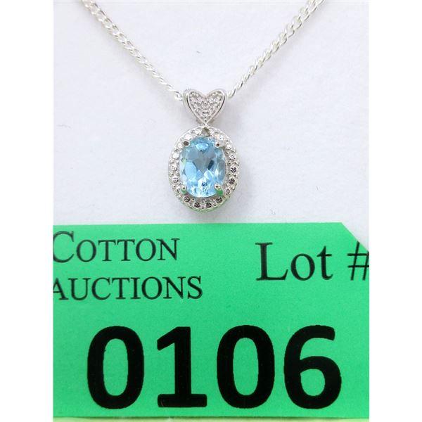 Sterling Silver Blue Topaz & Diamond Pendant