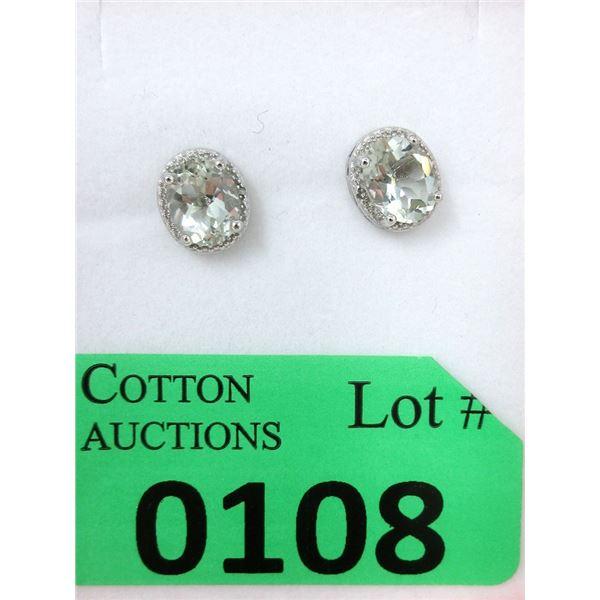 Sterling Silver Green Amethyst & Diamond Earrings