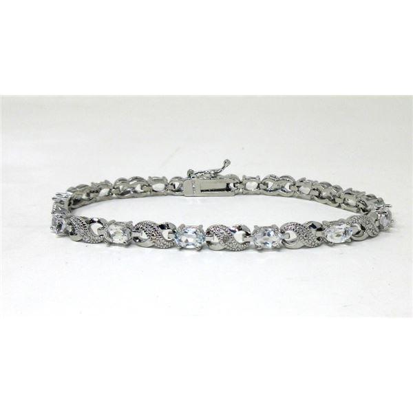 6.84 CTW White Topaz & Diamond Tennis Bracelet