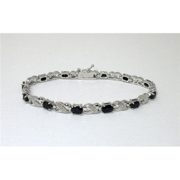 Blue Sapphire & Diamond Tennis Bracelet