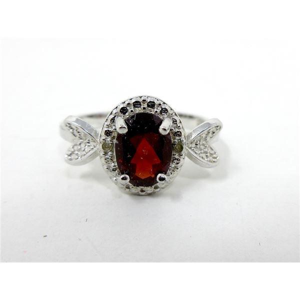 Sterling Silver Garnet & Diamond Solitaire Ring