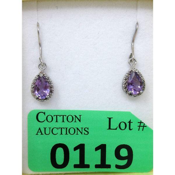 Sterling Silver Amethyst & Diamond Dangle Earrings