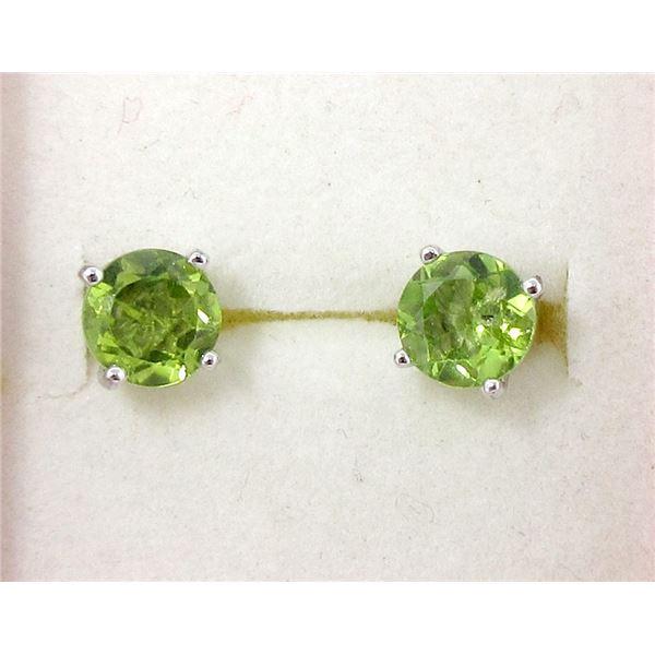 New Sterling Silver Green Peridot Earrings