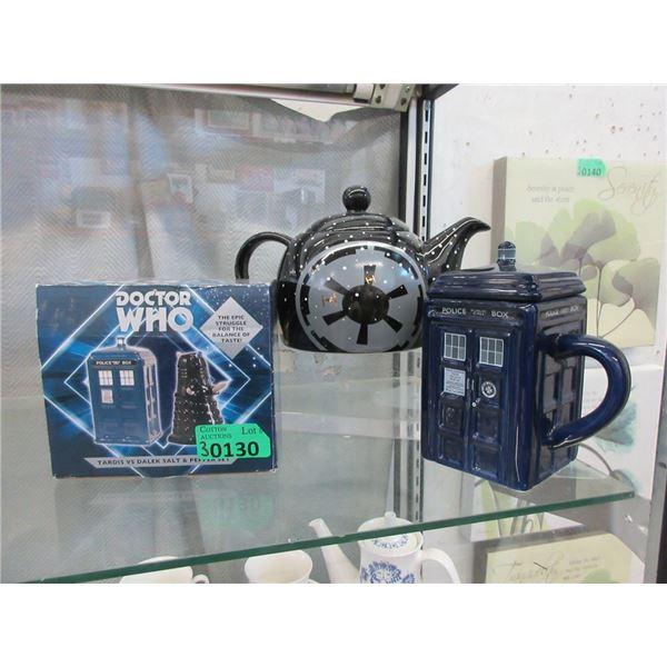 Dr. Who Tea Pot, Salt & Pepper & Lidded Mug
