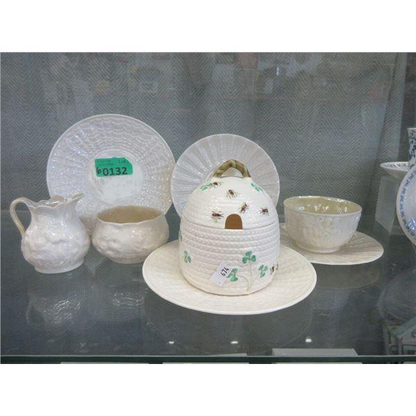 Irish Belleek China Honey Jar & More