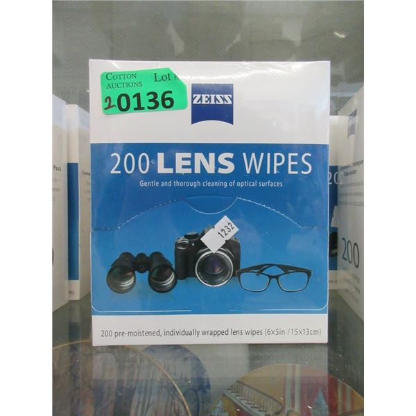 2 Boxes of 200 Zeiss Lens Wipes - Sealed boxes