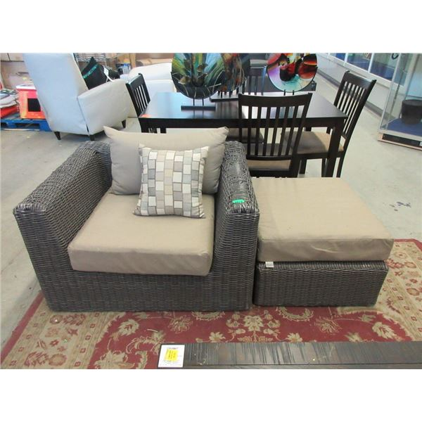 Patio Arm Chair and Ottoman - Store Return